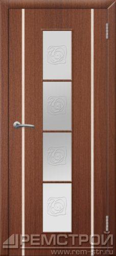 межкомнатные двери, Ремстрой, двери Пенза, двери Заречный, экошпон , модель Европа2, орех тисненый, каталог San Remo, со стеклом, с рисунком, с фьюзингом, глухая, комплект, дверное полотно, коробка, наличник, добор, притворная планка, монтаж, установка, производство, от производителя, фурнитура, ручки, петли, защелки, двери купе.