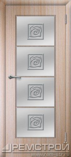 межкомнатные двери, Ремстрой, двери Пенза, двери Заречный, экошпон , модель Вена, дуб выбеленный, каталог San Remo, со стеклом, с рисунком, с фьюзингом, глухая, комплект, дверное полотно, коробка, наличник, добор, притворная планка, монтаж, установка, производство, от производителя, фурнитура, ручки, петли, защелки, двери купе.