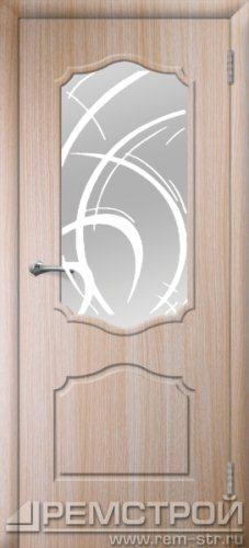 межкомнатные двери, Ремстрой, двери Пенза, двери Заречный, экошпон , модель Кармен, дуб выбеленный, каталог San Remo, со стеклом, с рисунком, с фьюзингом, глухая, комплект, дверное полотно, коробка, наличник, добор, притворная планка, монтаж, установка, производство, от производителя, фурнитура, ручки, петли, защелки, двери купе.
