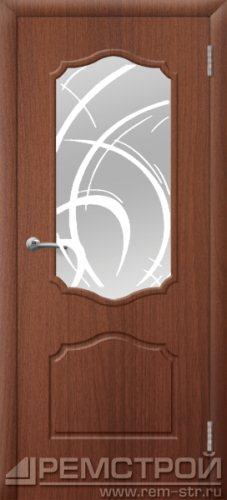 межкомнатные двери, Ремстрой, двери Пенза, двери Заречный, экошпон , модель Кармен, орех тисненый, каталог San Remo, со стеклом, с рисунком, с фьюзингом, глухая, комплект, дверное полотно, коробка, наличник, добор, притворная планка, монтаж, установка, производство, от производителя, фурнитура, ручки, петли, защелки, двери купе.