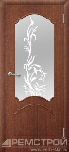 межкомнатные двери, Ремстрой, двери Пенза, двери Заречный, экошпон , модель Глория, орех тисненый, каталог San Remo, со стеклом, с рисунком, с фьюзингом, глухая, комплект, дверное полотно, коробка, наличник, добор, притворная планка, монтаж, установка, производство, от производителя, фурнитура, ручки, петли, защелки, двери купе.