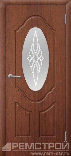 межкомнатные двери, Ремстрой, двери Пенза, двери Заречный, экошпон , модель Прима-1, орех тисненый, каталог San Remo, со стеклом, с рисунком, с фьюзингом, глухая, комплект, дверное полотно, коробка, наличник, добор, притворная планка, монтаж, установка, производство, от производителя, фурнитура, ручки, петли, защелки, двери купе.