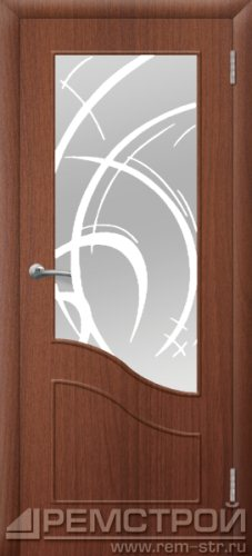 межкомнатные двери, Ремстрой, двери Пенза, двери Заречный, экошпон , модель Шарм, орех тисненый, каталог San Remo, со стеклом, с рисунком, с фьюзингом, глухая, комплект, дверное полотно, коробка, наличник, добор, притворная планка, монтаж, установка, производство, от производителя, фурнитура, ручки, петли, защелки, двери купе.