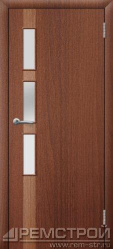 межкомнатные двери, Ремстрой, двери Пенза, двери Заречный, экошпон , модель Европа-1, орех тисненый, каталог San Remo, со стеклом, с рисунком, с фьюзингом, глухая, комплект, дверное полотно, коробка, наличник, добор, притворная планка, монтаж, установка, производство, от производителя, фурнитура, ручки, петли, защелки, двери купе.